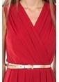 İroni Pileli Kruvaze Uzun Abiye Elbise Kırmızı